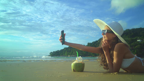 Woman Drinking Coconut Milk During Tropical Vacation Live Action