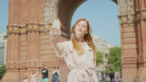 Closeup pretty woman taking selfie photo. Beautiful girl posing for mobile photo Live Action