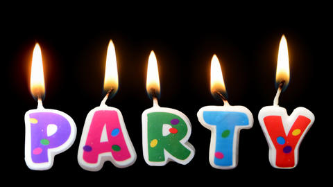 PARTY candles burning spelled word PARTY on transparent background Live Action