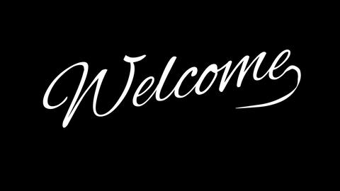 Welcome. Calligraphic title with Alpha Channel Animation
