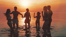 The six people dancing on the water against the sunset. slow motion Live Action