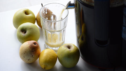 Apple And Pear Juice Squeezed Fresh Live Action