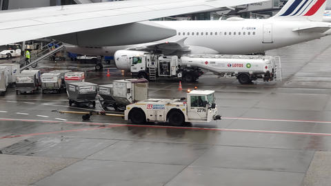 WARSAW, POLAND - DECEMBER 24, 2019. Warsaw Chopin Airport utility vehicles Live Action