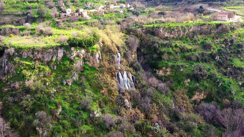 Paradision waterfalls near abandoned Trozena village. Limassol District, Cyprus Live Action