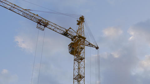4K Ungraded: Tower Crane / Crane Building / Construction Site Footage