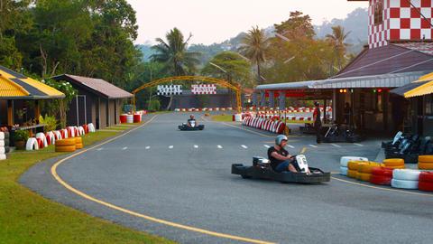 PHUKET. THAILAND - CIRCA FEB 2015: People competingin a race at Patong Go-Kart S Footage