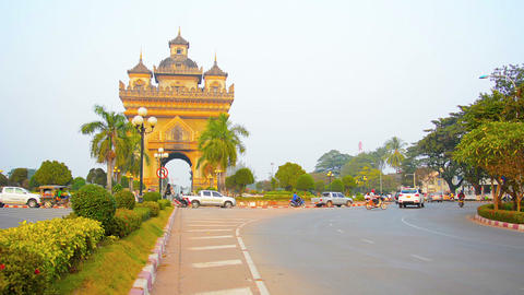 VIENTIANE. LAOS - CIRCA DEC 2013: The Patuxai Memorial Arch. a war memorial. sta Footage