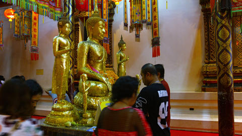 AYUTHAYA. THAILAND - CIRCA FEB 2015: Buddhists Giving Offerings to a Revered Bud Footage