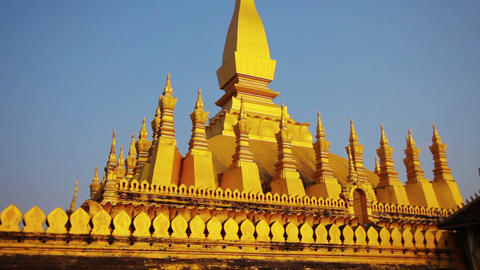 VIENTIANE. LAOS - CIRCA DEC 2013: Pha That Luang Stupa is an ancient. gold-cover Footage