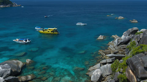 Tour Boats Anchored at One of Thailand's Famous Similan Islands Footage
