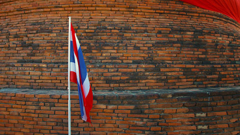 Thai National Flag in a Patriotic Presentation in Ayutthaya Live Action