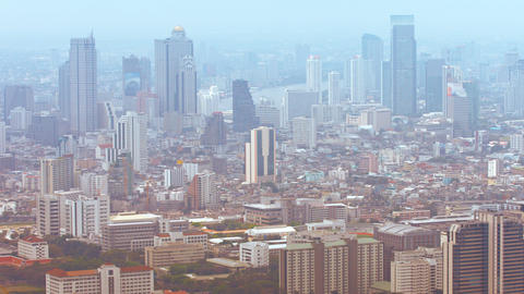 Cityscape of Downtown Bangkok. Thailand with Many High-rise Buildings Footage