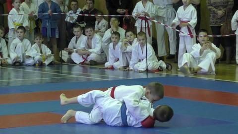 Orenburg, Russia - 13 February 2016: Children compete in jiu-jitsu Footage