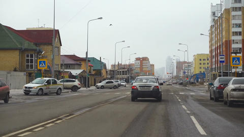 Road traffic on the streets of Astana Footage