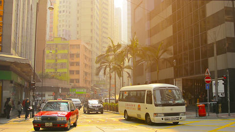 HONG KONG. CHINA - CIRCA JAN 2015: Early morning commute at a major downtown int Footage