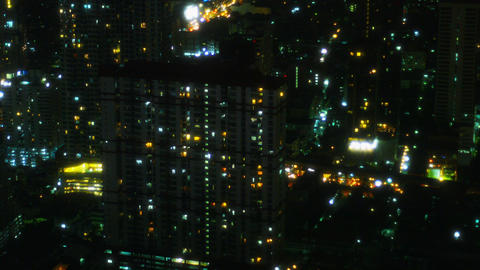 Downtown Towers and City Streets of Bangkok. Thailand. at night Footage