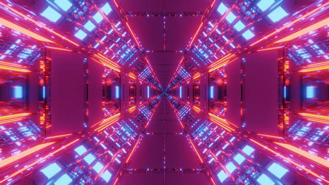 futuristic science-fiction hangar tunnel with endless glowing lights 3d Animation