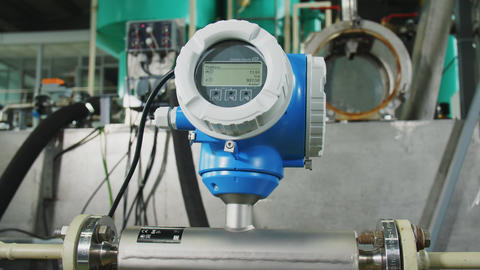 pressure meter with screen on equipment in plant workshop Live Action