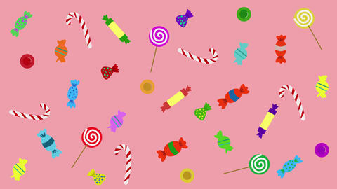2D animation, sweet candies moving on pink background. Tasty sweets, unhealthy Live Action
