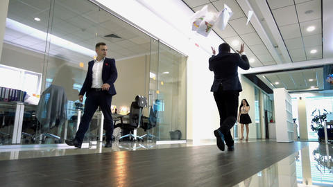 Businessman Going Throws Paper Live Action