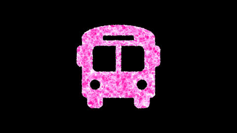 Symbol regular bus shimmers in three colors: Purple, Green, Pink. In - Out loop. Alpha channel Animation