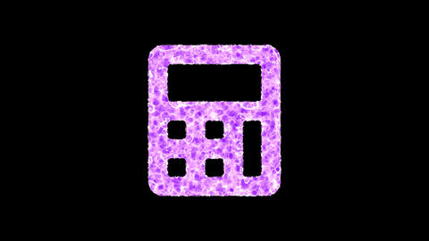 Symbol calculator shimmers in three colors: Purple, Green, Pink. In - Out loop. Alpha channel Animation