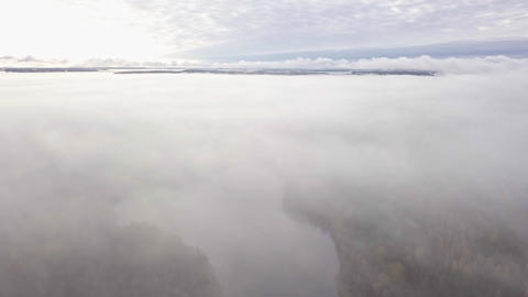 Aerial view of lake under fog layer in autumn Live Action