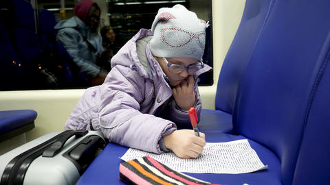 Child Draw Picture by Marker Pen in Train Live Action