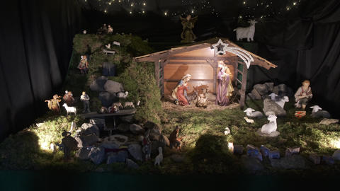 Christmas nativity scene, Xmas manger, biblical story of the birth of Jesus Live Action