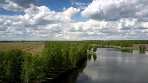 wide calm river reflects green trees silhouettes upper view Live Action
