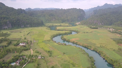pictorial calm blue river reflects trees near green fields Live Action