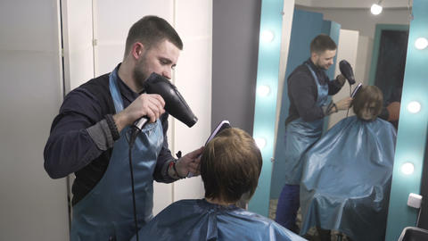 Hair cutting in beauty salon Live Action