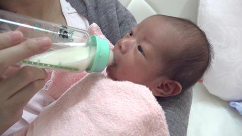 哺乳瓶でミルクを飲む新生児・生後1週間の赤ちゃん ライブ動画