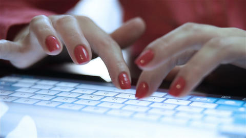 woman hands typing on the tablet Footage