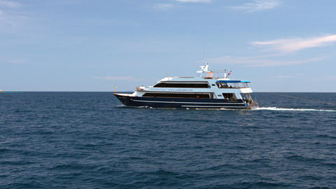 Tour Boat Sails By Ko Similan in the Andaman Sea Footage