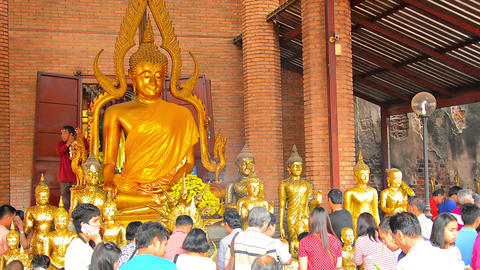 Buddhist worshippers giving offerings and praying to statues of the Buddha and o Footage