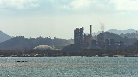 Industrial Complex Near the Sea Footage