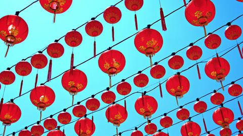 Rows of Chinese Lanterns Outside a Buddhist Temple Footage