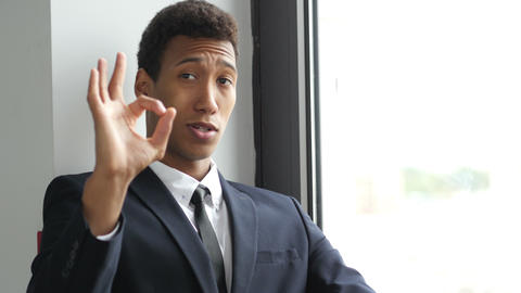 Sign of Okay, Gesture by Black Businessman in Suit, Satisfaction Footage