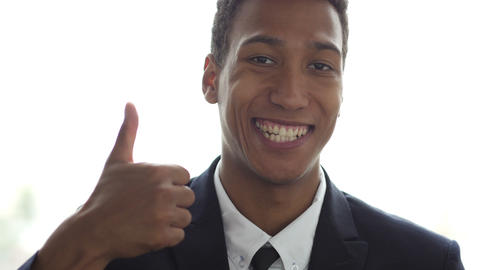 Thumbs Up, Portrait of Successful Black Businessman Live Action