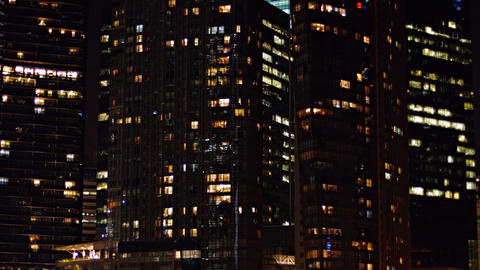 Commercial Office Towers in a Big City at Night Footage