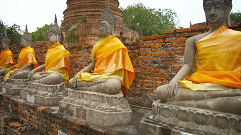 Row of stone statues of Buddha dressed in orange fabric at Wat Yai Chai Mongkhon Footage