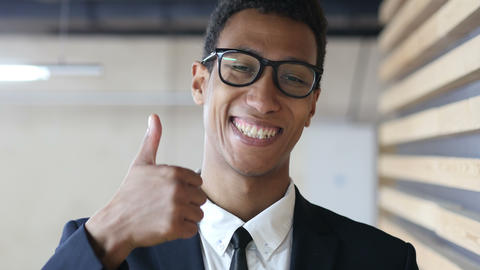 Thumbs Up by Black Businessman in Suit, Portrait Live Action