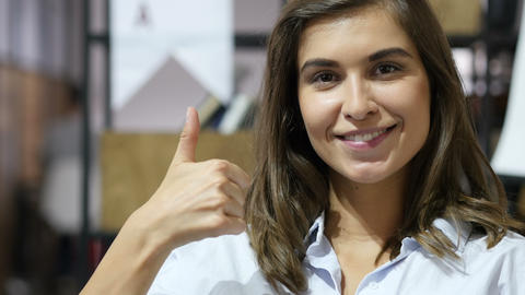 Thumb Up by Smiling Lovely Girl, Portrait Footage
