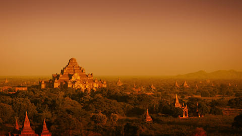 Landscape in Bagan. Myanmar. with the spires of ancient. Buddhist temple structu Footage