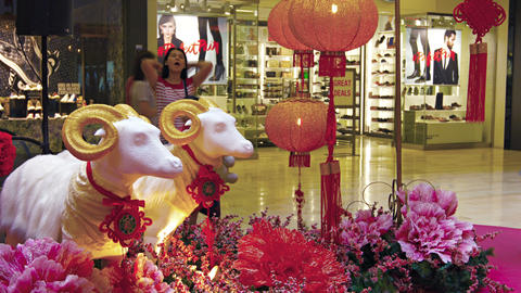 Chinese New Year decorations. displayed inside a popular shopping mall in Downto Footage