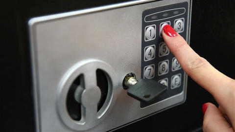 Woman hand opened safe Footage