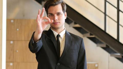 Everything is Ok, Okay, Gesture by Businessman in Office Footage
