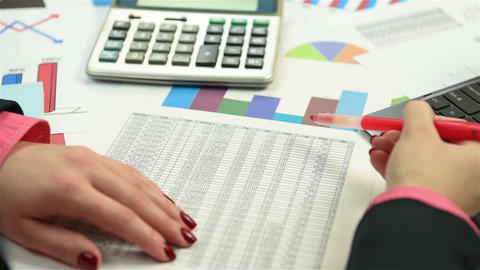 Accountant examines the annual report Live Action