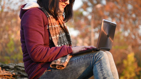 Hipster Girl With Laptop Live Action